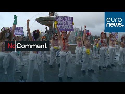 شاهد: ناشطات حركة -فيمن- يتظاهرن عاريات الصدر في فرنسا