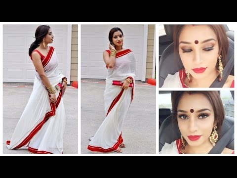 Bengali traditional makeup tutorial and outfit.