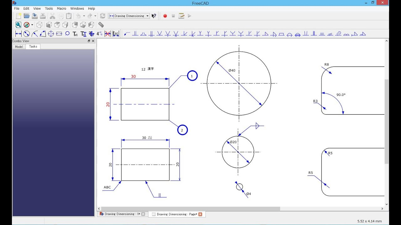 freecad 4664 drawing dimensioning manual youtube