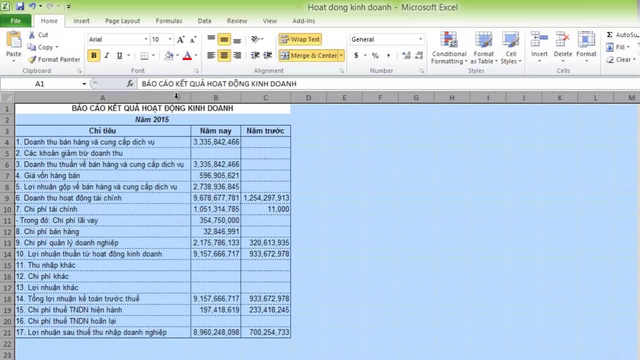 Điều chỉnh độ rộng của cột & hàng trong Excel 2010