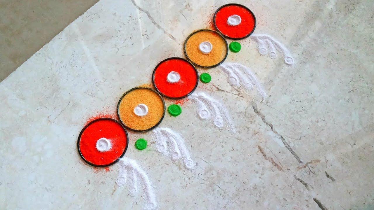 Beautiful multicolored border rangoli   How to make easy Fancy ...