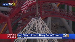 A Man Atop Large Tower At Knott's Berry Farm Refuses To Come Down