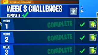 "COMPLETE ALL *WEEK 3* CHALLENGES in FORTNITE - UNLOCK ""FREE"" TIERS EASY in FORTNITE BATTLE ROYALE!"