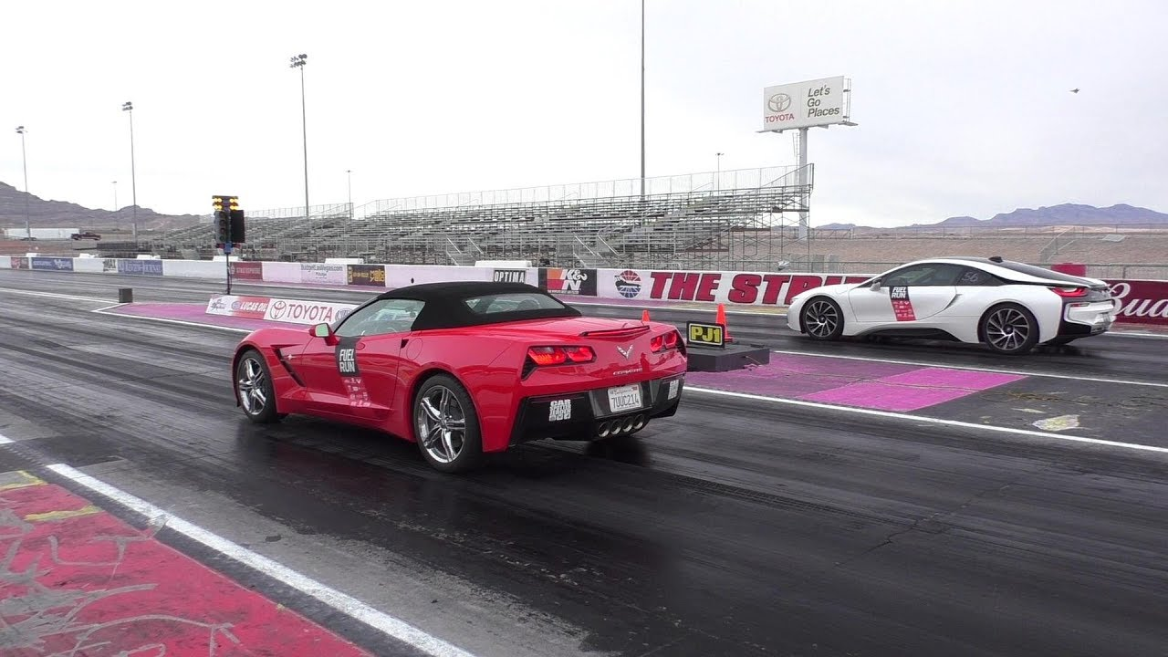 Dragrace Bmw I8 Vs Corvette C7 Stingray 1 2 Mile V8 Vs Hybrid
