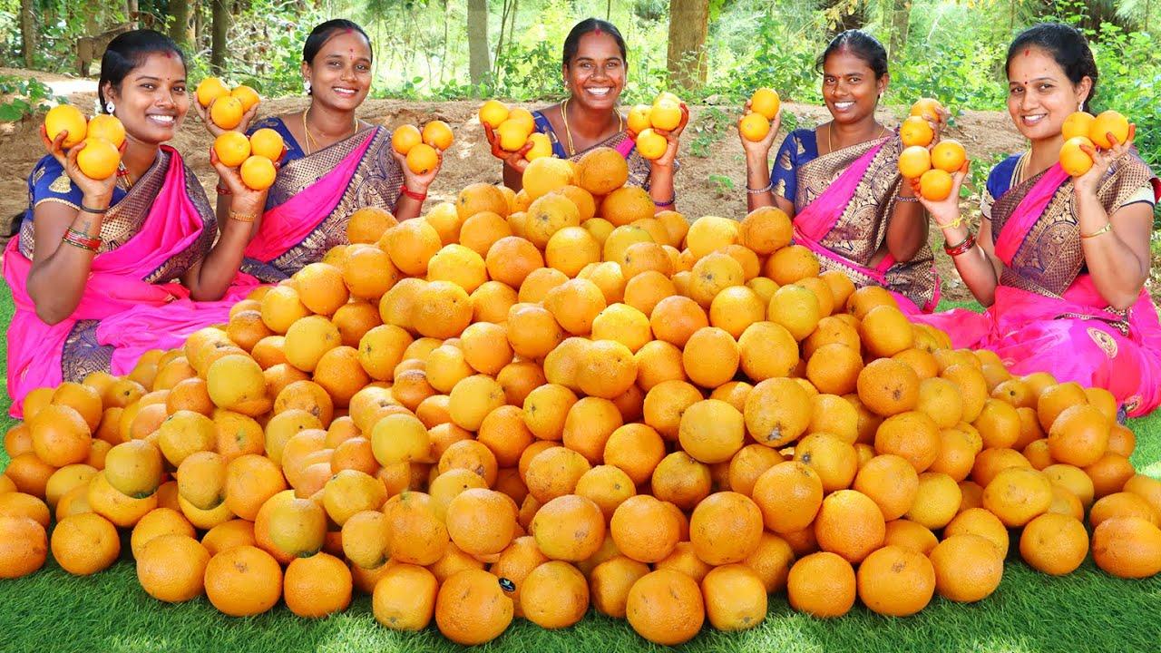 120 KG FRESH ORANGE JUICE RECIPE | Traditional Hand Made and Healthy Orange Juice | VILLAGE BABYS