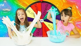 MYSTERY WHEEL OF SLIME CHALLENGE - All Ingredients!  Emily and Evelyn