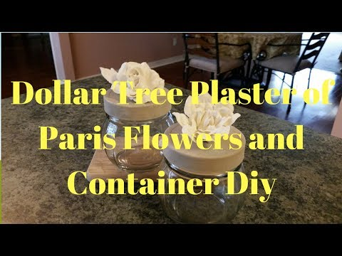 Dollar Tree Plaster Of Paris Flowers And Glass Container Diy
