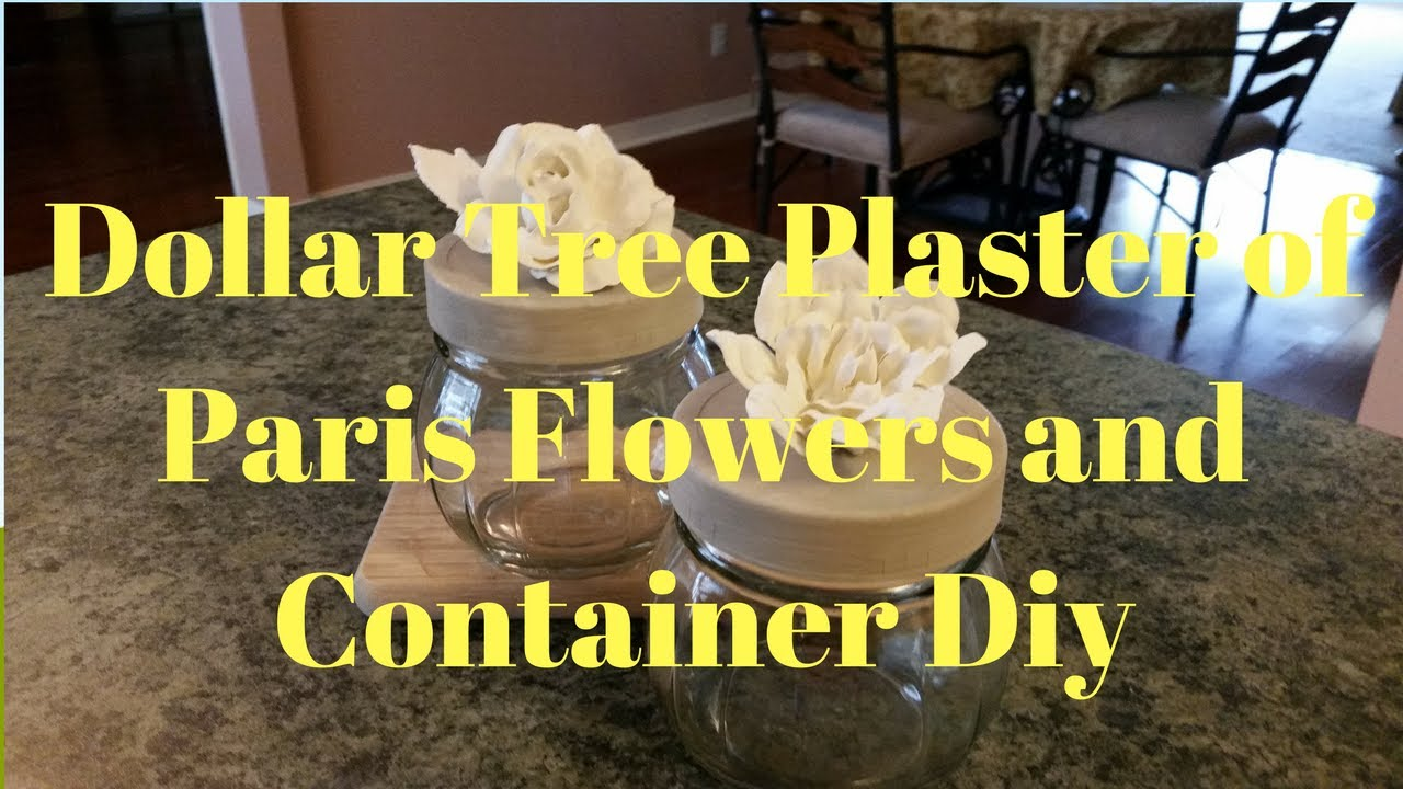Dollar Tree Plaster Of Paris Flowers And Glass Container Diy - YouTube