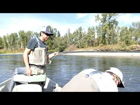 Fly fishing on a guided boat down the Yakima River in Washington