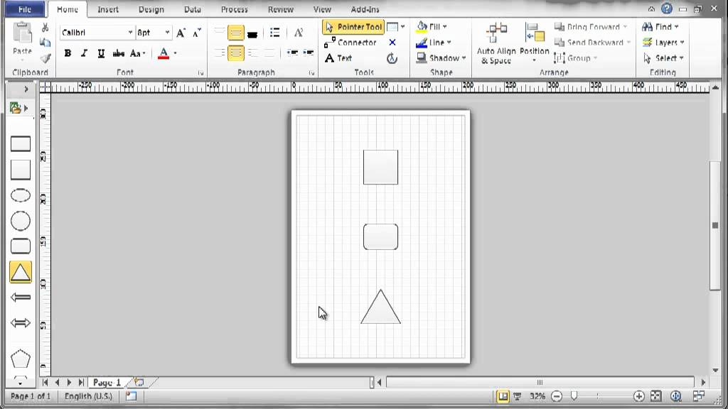 Visio 2010 - Part 2 - Add shapes - YouTube