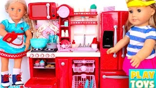Toy Kitchen Set for kids - AG Dolls how to make cupcakes & bake cookies toys video for kids