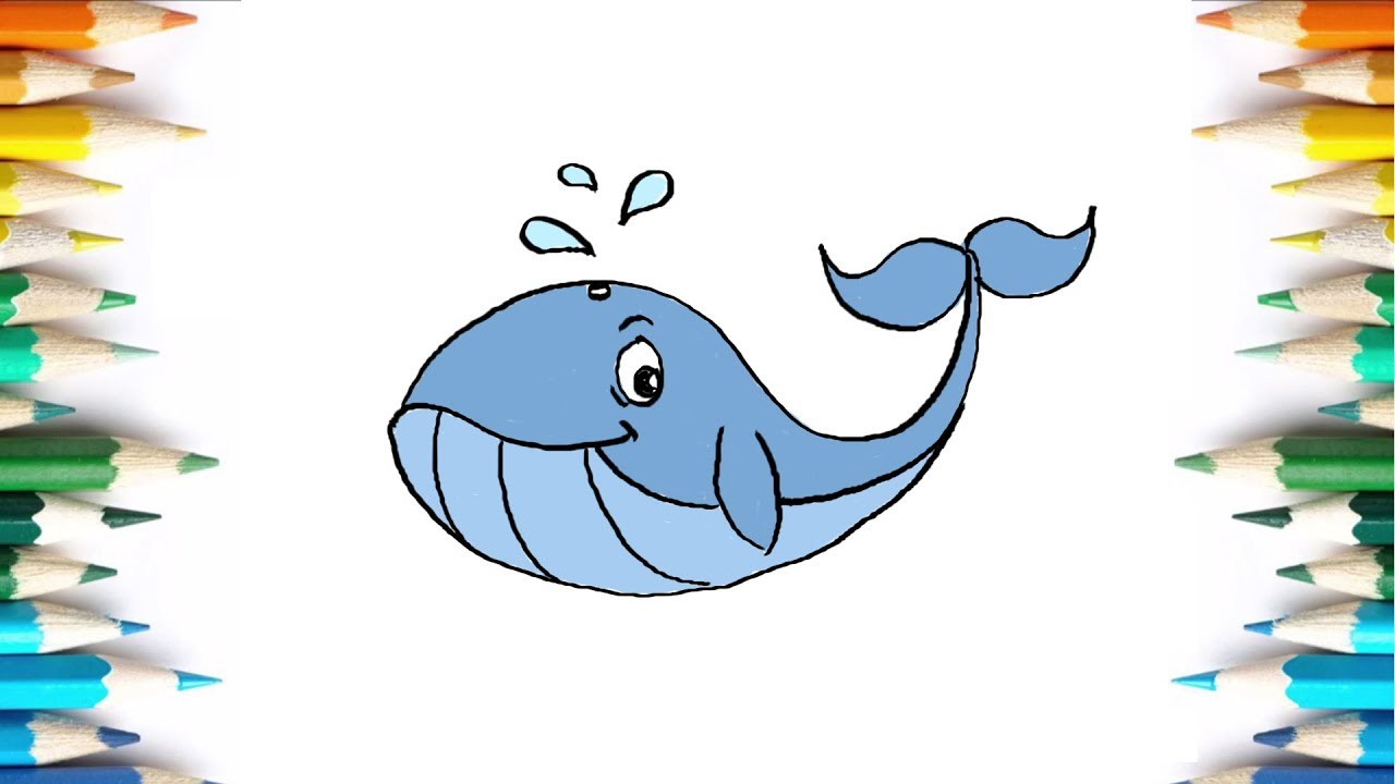 How to Draw Blue Whale | coloring pages for kindergarten - YouTube