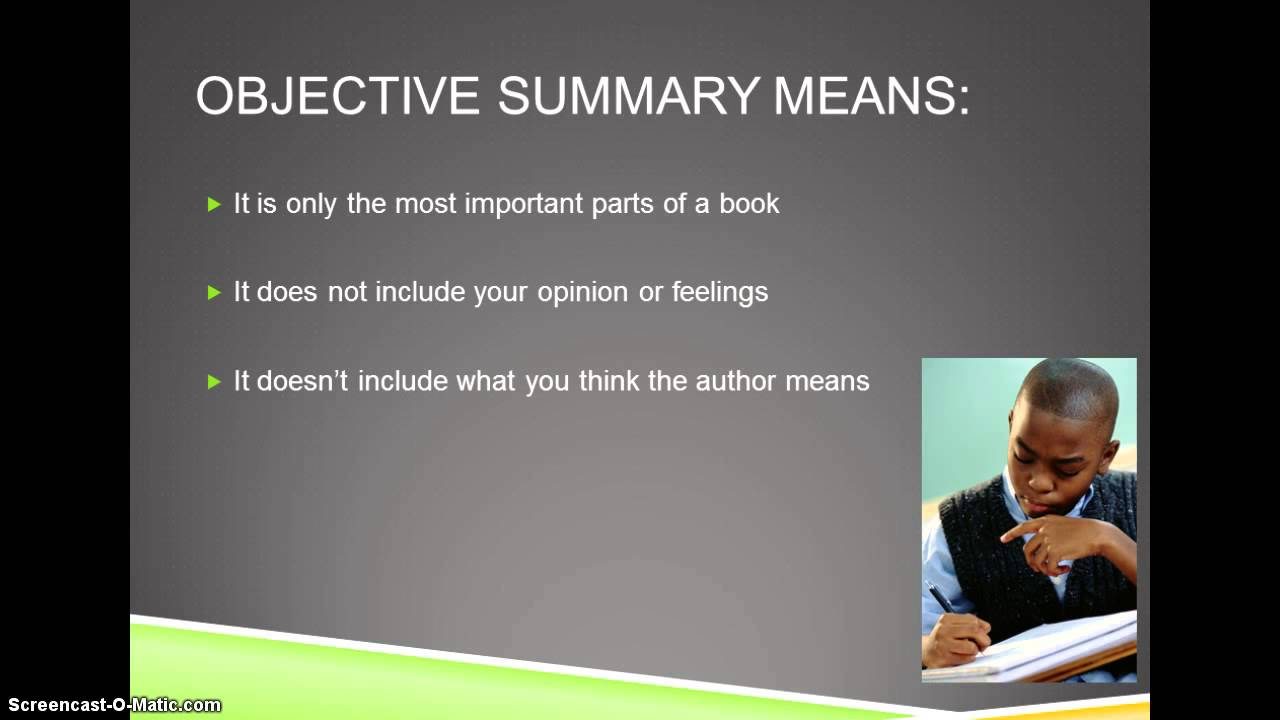 Objective Summary   YouTube On What Is An Objective Summary