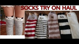 5 Cute Socks Amazon Try On Haul - Thigh Highs Collection