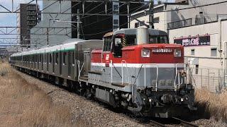 【DE10-1726牽引】東急2020系2135F(6両)甲種輸送 淵野辺通過【4K】