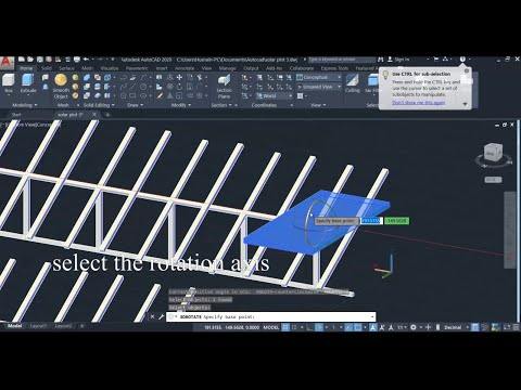 3d Autocad Designing Of Solar Panel Layout Youtube