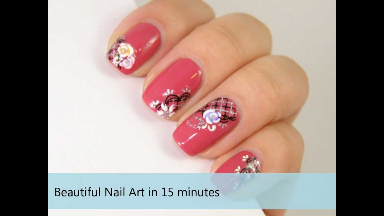 Quick & Easy Nail Art using Japanese Deco Nail Stickers - YouTube