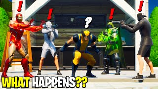 What Happens if ALL 5 Bosses Meet in Fortnite! | Boss Iron Man Meets Wolverine, Dr Doom & Henchmen!