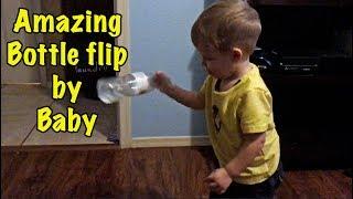 2 YR OLD BOTTLE FLIPS  -DOMINICK LOVES TO BOTTLE FLIP-