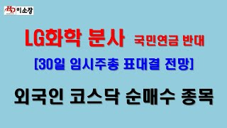 [주식]LG화학 분사 국민연금 반대 영향은. 삼성SDI…