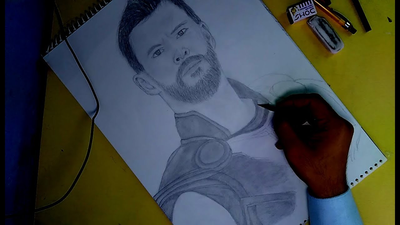 Thor ragnarok pencil sketch khatriarts art drawing and pencil sketch