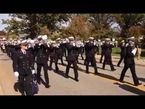 The Naval Academy Marching Band with bonus flyover FA18 footage - Notre Dame, IN