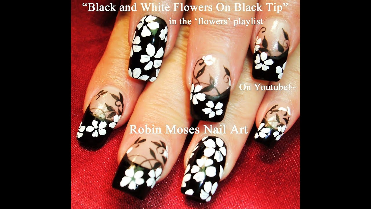 Flower Nails! DIY Black and White Flower Nail Art Design Tutorial ...