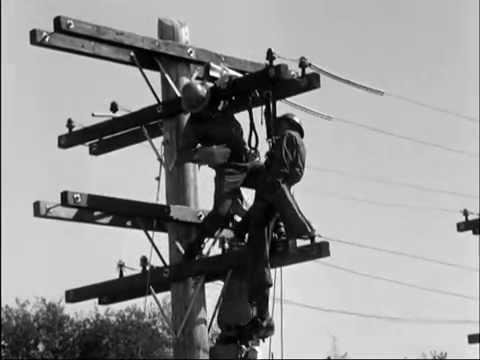 Seattle City Light Linemen Emergency Drill Practice, 1957