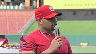 Albert Pujols shares his testimony at Christian Day at the Ballpark in St. Louis, MO
