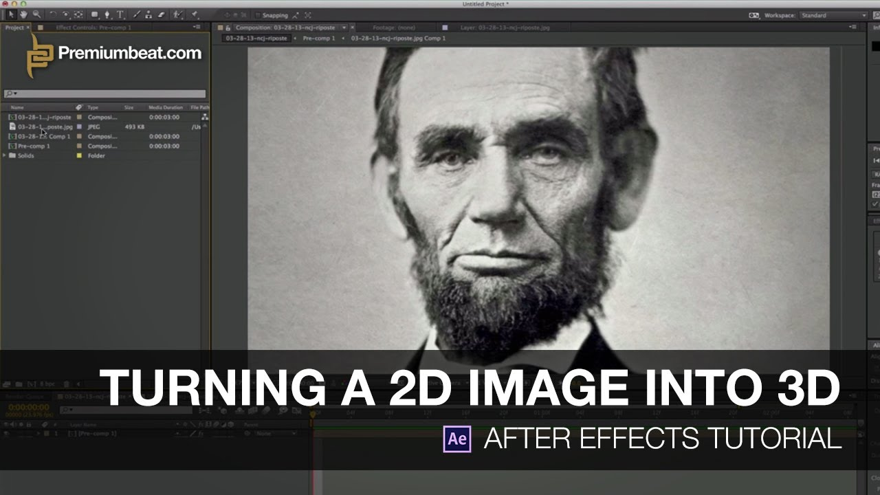 Video tutorial turning a 2d image into 3d in after for Habitacion 3d after effects