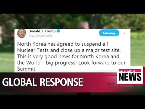 "Trump welcomes North Korea's decision, calling it ""very good news"" and big progress"
