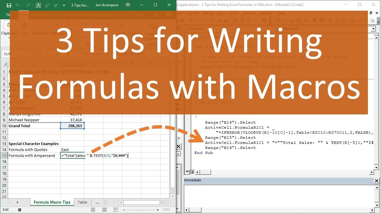 3 Tips For Writing Formulas With Vba Macros In Excel