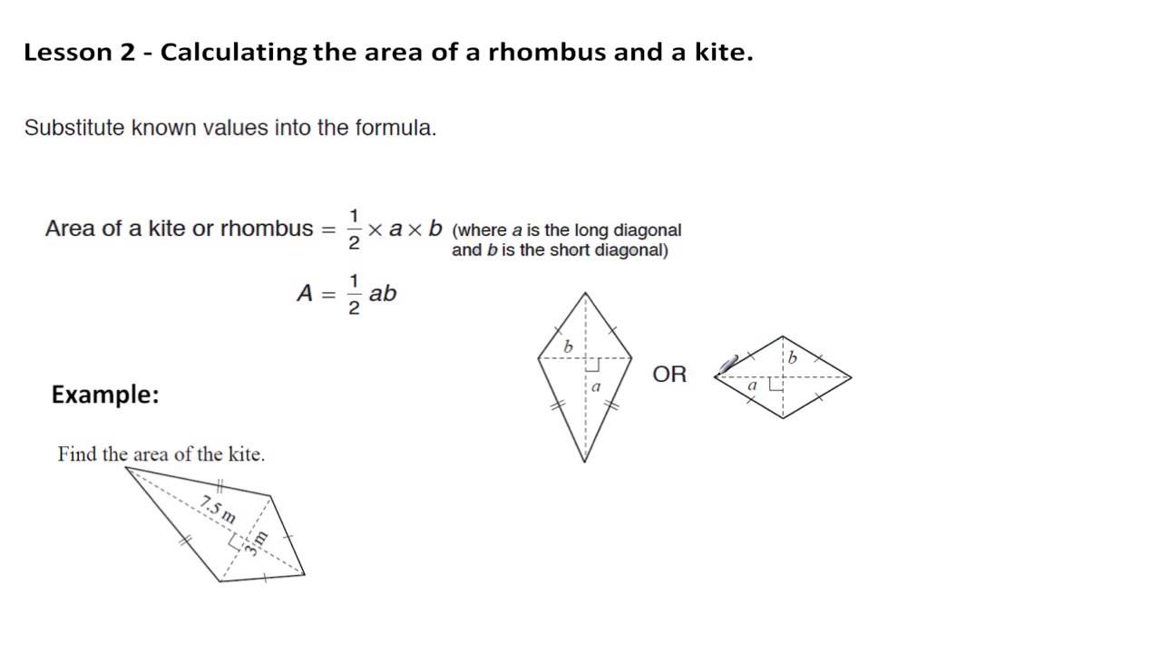 Perimeter And Area  Lesson 2  Area Of A Rhombus And Kite
