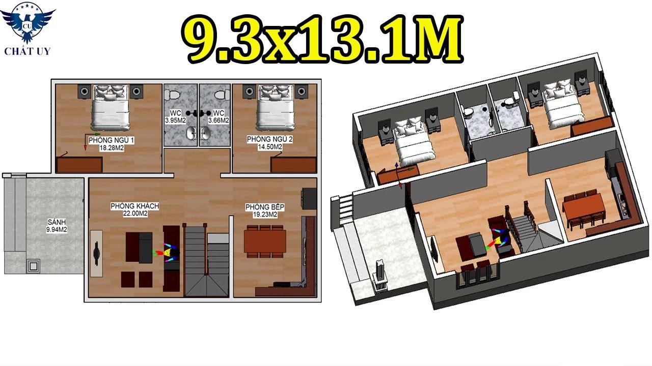 Bản Vẽ Công Năng Nhà Cấp 4 Diện Tích 9.3×13.1M 2 Phòng Ngủ Cực Hợp Lý Cho Vùng Quê | Nhà Cấp 4 Đẹp
