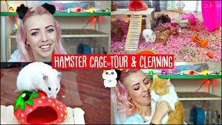 HAMSTER CAGE CLEANING & CAGE TOUR! | My Hamster is chewing her Cage😭