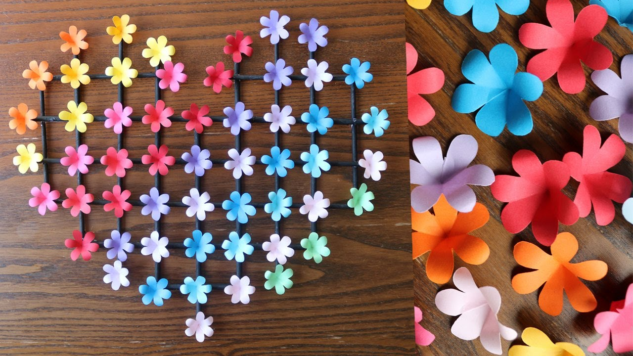 Paper Flower Wall Hanging Easy Wall Decoration Ideas Paper Craft Diy Wall Decor Youtube