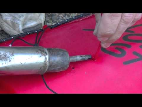 How to plastic weld a Polyethylene kayak - kayak repair Drill Holes