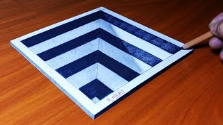 VERY EASY!! How to draw a Square Hole for Kids - 3D DRAWING Trick Art on paper