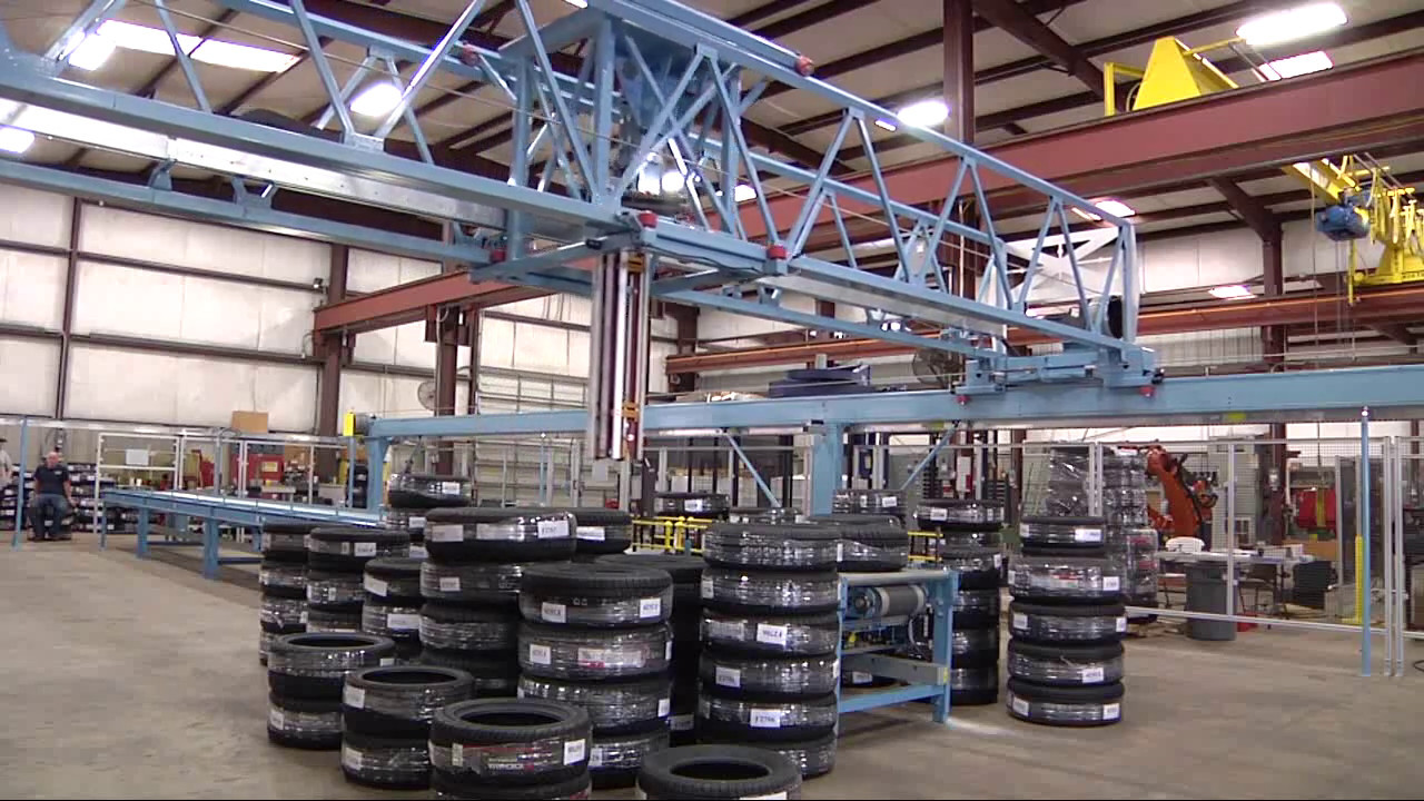 Tire Handling Gantry By Sage Automation Youtube