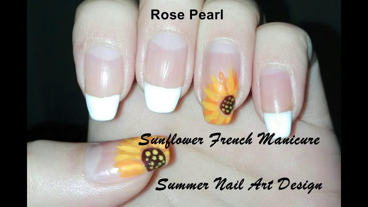 Sunflower French Nail Art Tutorial Diy Summer Nail Art Design
