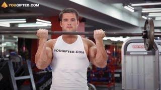 Упражнения для бицепсов. Сгибания рук со штангой.(Вконтакте: http://vk.com/yougifted Facebook: http://www.facebook.com/YouGiftedOnline Twitter: http://twitter.com/YouGiftedRussia Подписка: ..., 2011-10-07T12:28:19.000Z)