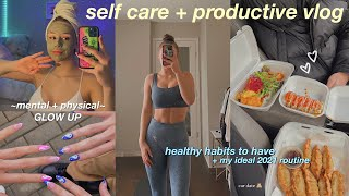 my self care + productive weekend vlog! glowing up mentally & physically 💘 + healthy daily habits