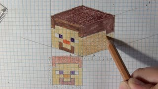 How to draw Minecraft faces from 2D to 3D tutorial - Things to Draw