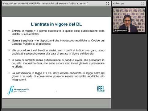 """10/05/2019 - Le novità sui contratti pubblici introdotte c.d. Decreto """"Sblocca cantieri"""" - I Parte"""