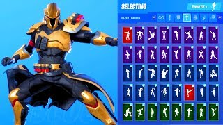 *NEW* Fortnite Ultima Knight Gold Skin Showcase with All Dances & Emotes (Season 10 Outfit)