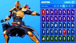 * NOVO * Fortnite ultima Knight Gold Skin Showcase com todas as danças e emotes (Temporada 10 Outfit)