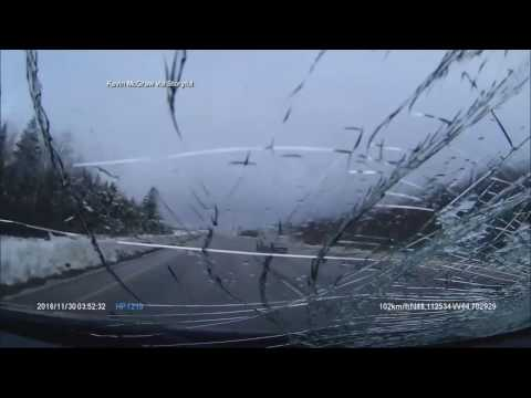 Falling Snow Smashes Windshield