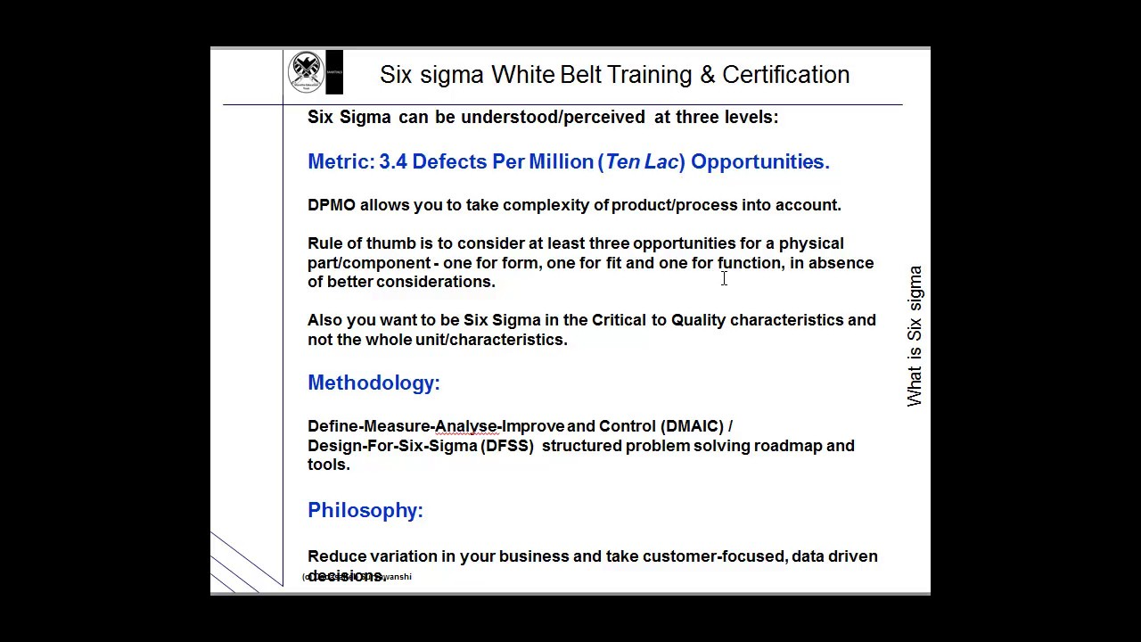 Free Sixsigma whitebelt certification