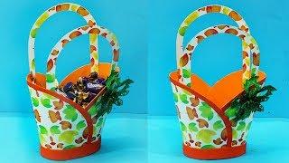 DIY Paper Basket : How to Make Paper Basket | Easy Handmade Chocolate Basket | Gift Basket Ideas