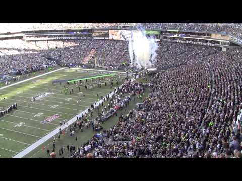Seahawks Greenbay NFL 2014 kickoff game with Superbowl Banner intro
